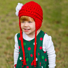 Festive Red and White Rose Aviator Flower Earflap Beanie for Baby and Toddler Girls icon