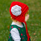 Festive Red and White Rose Aviator Flower Earflap Beanie for Baby and Toddler Girls