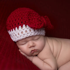 Baby Girl Christmas Bow Red & White Crochet Beanie icon