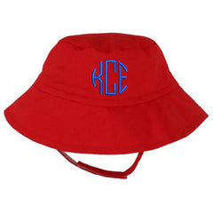Red Baby Bucket Sun Hat with Option for Personalisation icon