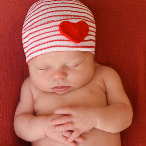 Red and White Striped Newborn Gender Neutral Hospital Hat with Red Crocheted Heart
