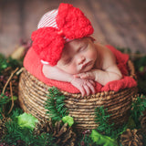 Rosie Red Rosette Striped OR Solid Bow Newborn Girl Hospital & Nursery Hat