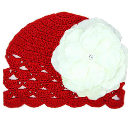 Red Scalloped Crochet Baby Hat with White Rose