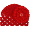 Ruby Red Crochet Scalloped Edge Baby Hat with Red Lace Flower