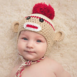 Cutie Crimson and Tan Baby Boy Sock Monkey Hat