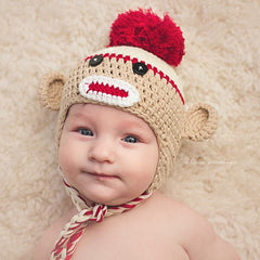 Cutie Crimson and Tan Baby Boy Sock Monkey Hat icon