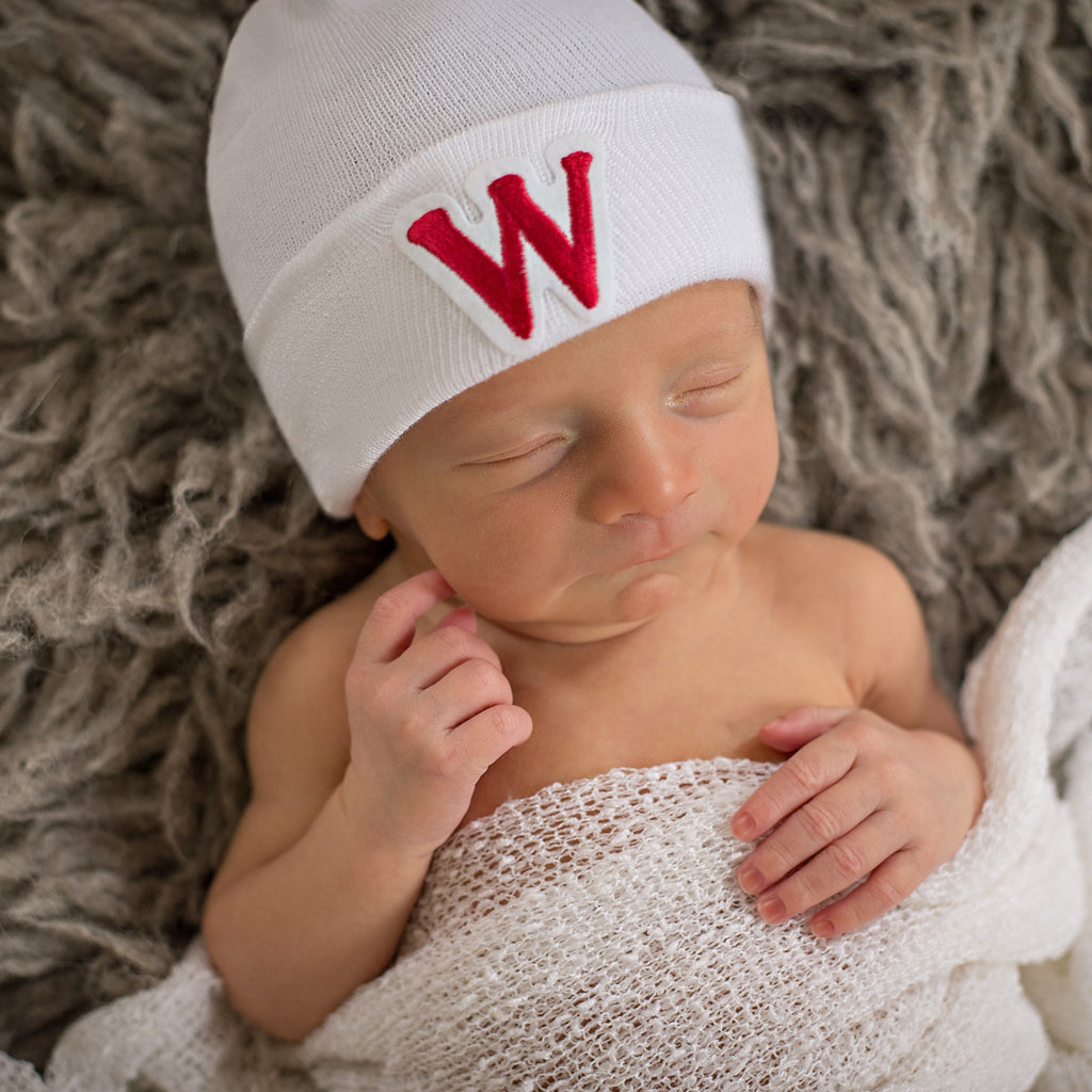 Red Collegiate Letter Patch Newborn Boy Hospital Hat