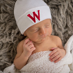 Red Collegiate Letter Patch Newborn Boy Hospital Hat icon