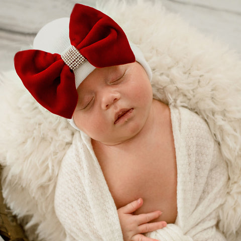 Red Christmas Velvet Bow with Rhinestone Center Hospital Hat For Newborn Girls - Christmas Babies