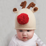 Big Red Nose Reindeer Knit Christmas Hat for Babies and Toddlers Hat