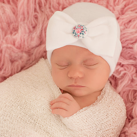 Rose Water Covered Button Newborn Girl Hospital Hat- Nursery Beanie for Girls White Bow