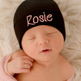 Lollipop Font Black Personalized Newborn GIRL hospital hat