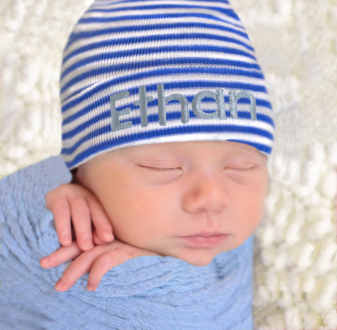 Personalized Royal Blue & White Striped Newborn Hospital Hat