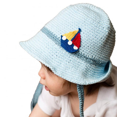 ... Blue Sailing Knit Sun Hat - Baby and Toddler Boys ... 9d821384953