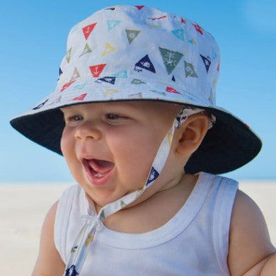 Triangle Nautical Print Baby and Toddler Boys Sun Hat