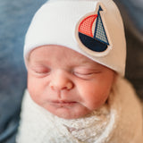Gingham Sailboat White Newborn Boy Hospital Hat