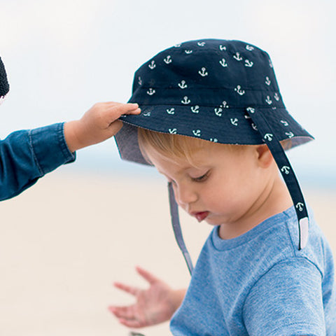 Reversible Anchor and Seersucker Baby Boys Sun Hat