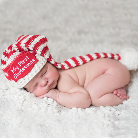 79febfa6d3e57 My First Christmas Patch Candy Cane Striped Baby Elf Baby Stocking Hat
