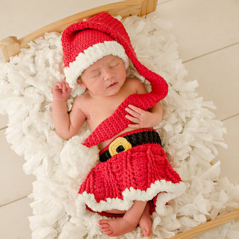 Santa Skirt Set for Baby Girls - Stocking Cap, Skirt and Booties Set