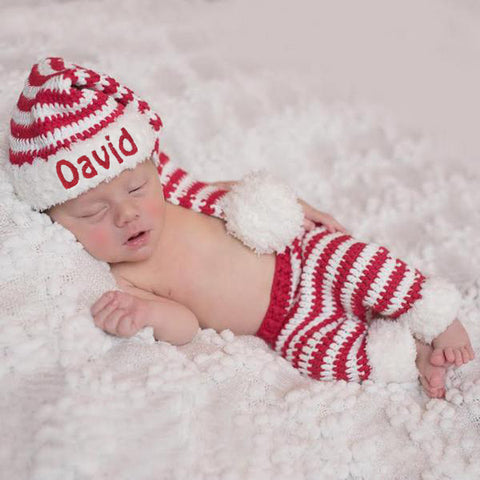 Fuzzy Santa Hat and Pant Set for Baby Boys and Baby Girls - Personalized Option