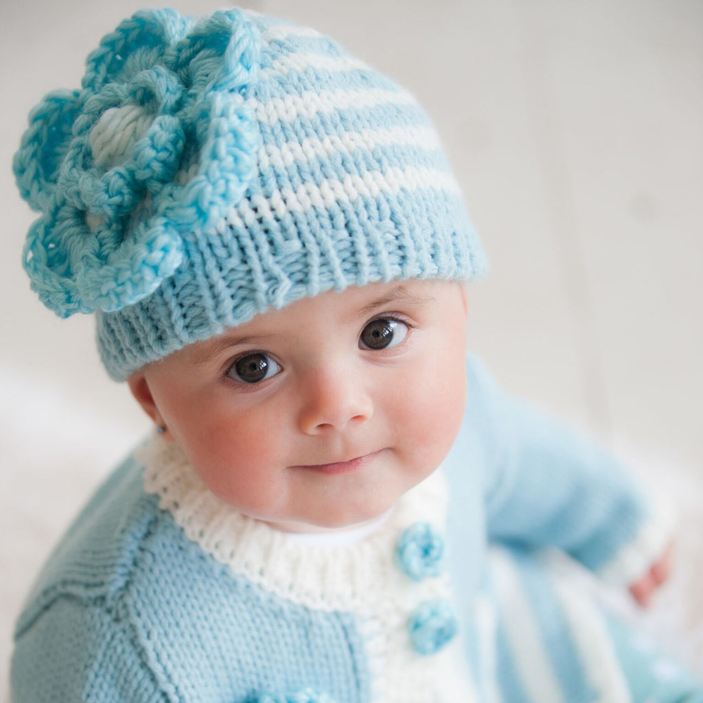 Sea Foam Striped Flower Baby or Toddler Girl Beanie