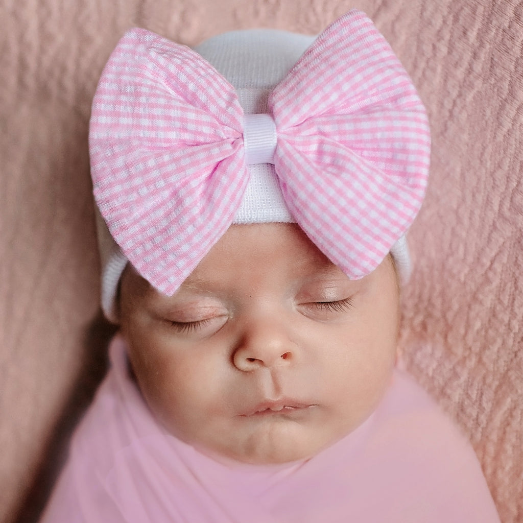 Seersucker CHECK Pink and White Bow Newborn Girl Hospital Hat