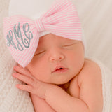Pink and White Seersucker Monogrammed Bow Newborn Girl Hospital Hat