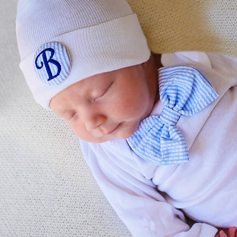 Seersucker Blue and White Bow Tie Onsie and Initial Covered Button- Newborn Boy Welcome Home Outfit