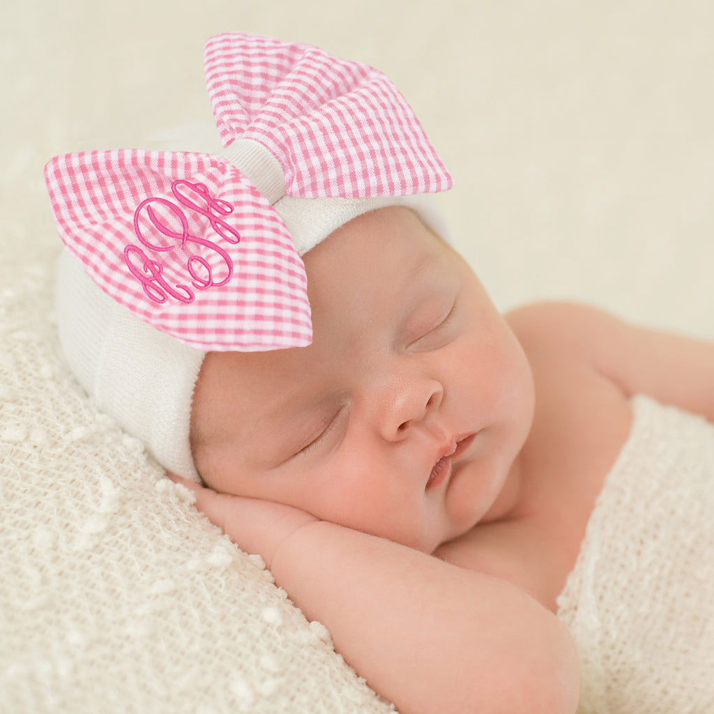Seersucker CHECK Pink and White Monogrammed Bow Newborn Girl Hospital Hat