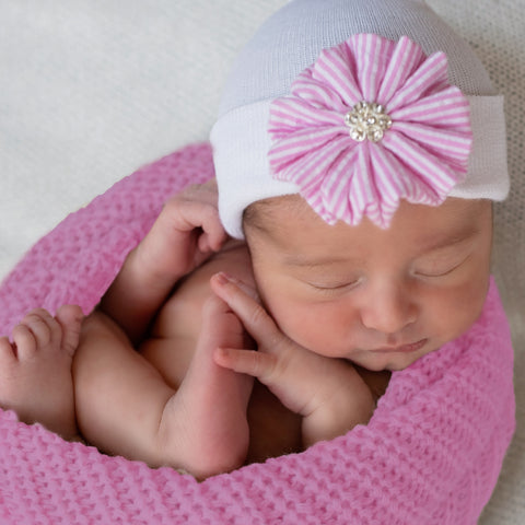 Sweet Seersucker Pink and White Striped Hand Crafted Flower Newborn Girl Hospital Hat - Nursery Beanie