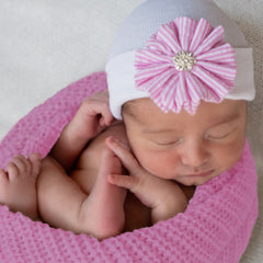 Sweet Seersucker Pink and White Striped Hand Crafted Flower Newborn Girl Hospital Hat icon