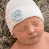 Covered Button Seersucker Little BRO White Newborn Boy Hospital Hat
