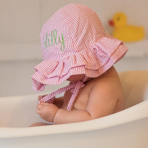 d6d749f6c13b5 Shop by size +. newborn hats · baby hats · toddler hats · kids hats ·  seasonal · sale · Home » Sunhat » Pink and White Seersucker Double Ruffle  Brim ...