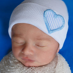 Blue and White Seersucker Heart with Yarn Stitching Heart on White Newborn Boy Hospital Hat icon