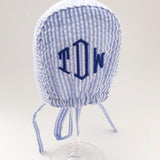 Blue & White Seersucker Bonnet for Baby Boys - Baby Boy Bonnet - Monogram Optional
