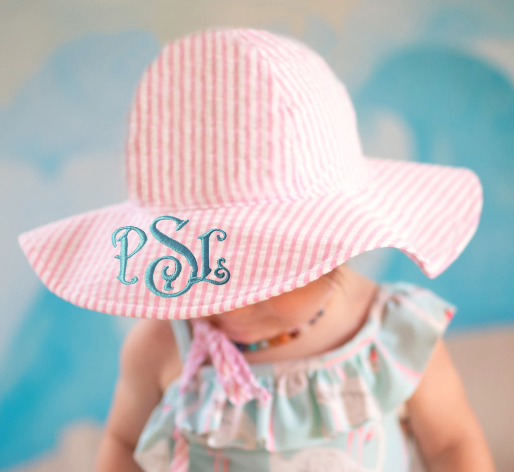 Monogrammed or Personalized Name Pink and White Wide Brim Seersucker Baby Sun Hat -PERSONALIZED Option