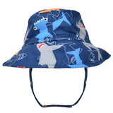 Navy Blue Monster Fish Blue Boys Bucket Sun Hat - Baby and Toddler Boy Sun Hat