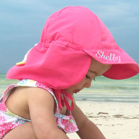 Bright Pink Flap Protection Baby and Toddler Sun Hat - Personalization Option