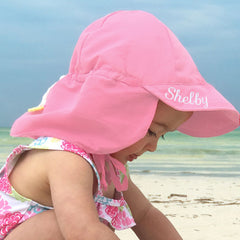 Light Pink Flap Protection Baby and Toddler Sun Hat - Personalization Option icon