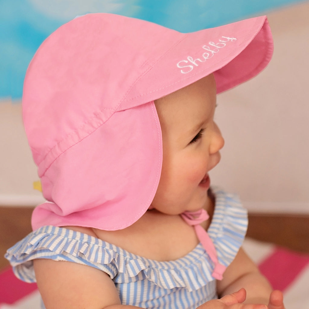 Light Pink Flap Protection Baby and Toddler Sun Hat - Personalization Option