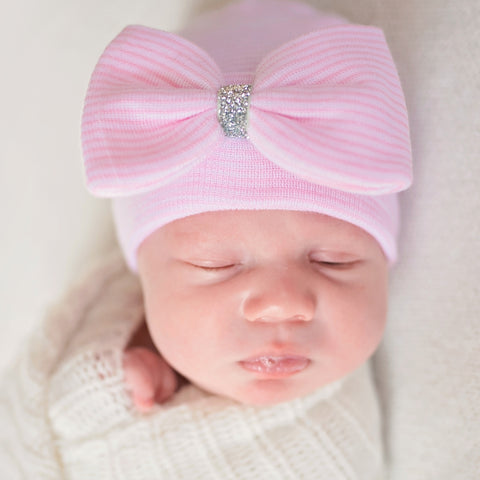 Silver Shimmer Pink and White Striped Big Bow Newborn Hospital Hat