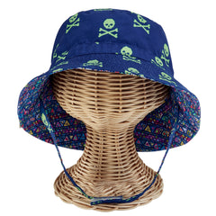 Reversible Fishermans Bucket Baby Boys Sun Hat - Skull Print and Multi Print icon