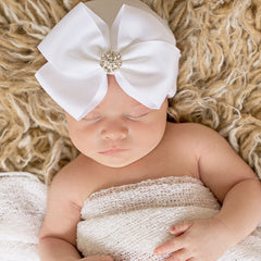Snow White Big Ribbon Bow with Rhinestone Newborn Hospital Hat - White Hat icon