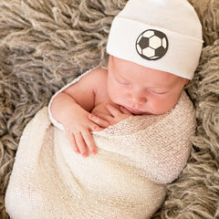 Soccer Ball Baby On White Hat - Newborn Boy Hospital Hat icon