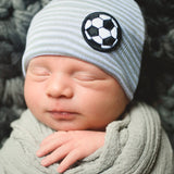 Grey and White Striped Soccer Newborn Boy Hospital Hat