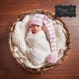Simple Pink Striped Stocking Cap for Baby Girls