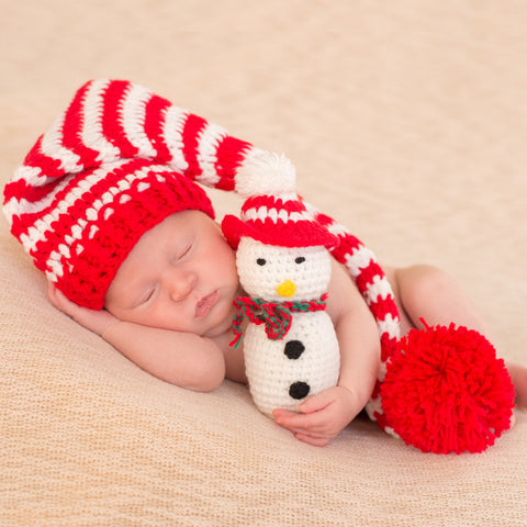 Striped Stocking Cap and Cute Plush Snowman Christmas Newborn Set