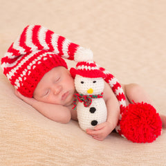 Striped Stocking Cap and Cute Plush Snowman Christmas Newborn Set icon