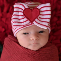 Red & White STRIPED With All My Heart Newborn Girl Big Bow and Heart Patch Hospital Hat icon