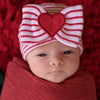 Red & White STRIPED With All My Heart Newborn Girl Big Bow and Heart Patch Hospital Hat